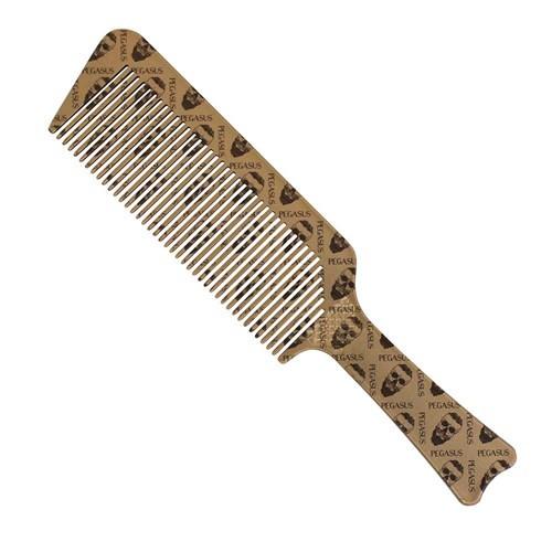 Pegasus Skulleto #514A Gold Flat Topper Barber Comb