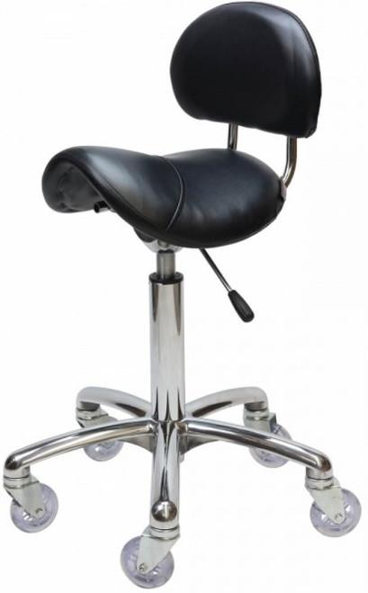 Saddle - With Back Chrome - (Black Upholstery)