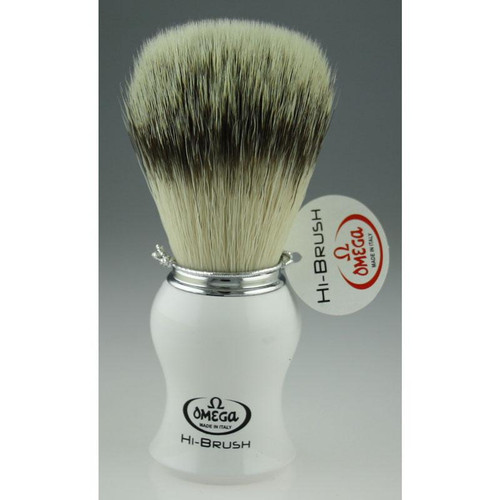 Omega Shaving Brush with white handle