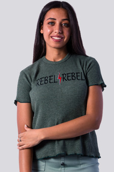 REBEL Embroidery Tee in olive