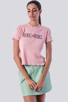 REBEL Embroidery Tee in pink