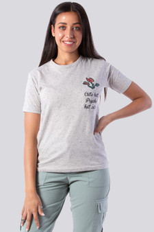 Cute but psycho pocket Graph Tee in grey
