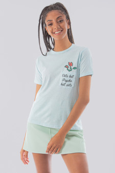 Cute but psycho pocket Graph Tee in baby blue