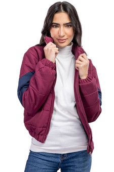 Cropped Puffer Jacket Maroon