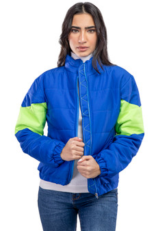 Cropped Puffer Jacket Neon Blue
