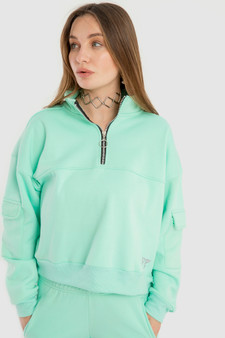 Half Zipper sweatshirt in Mint Green