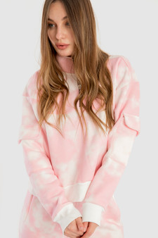 Half Zipper sweatshirt in Pink Tie-dye