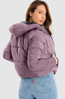Puffer Jacket with Hood in Purple