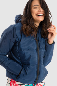 Puffer Jacket with Hood in Navy