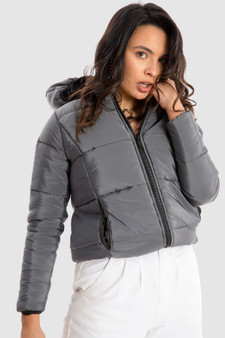 Puffer Jacket with Hood in Grey