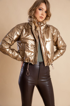 Leather Puffer Jacket in Gold