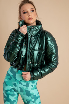 Leather Puffer Jacket in Olive