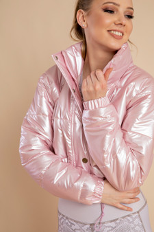 Leather Puffer Jacket in Pink