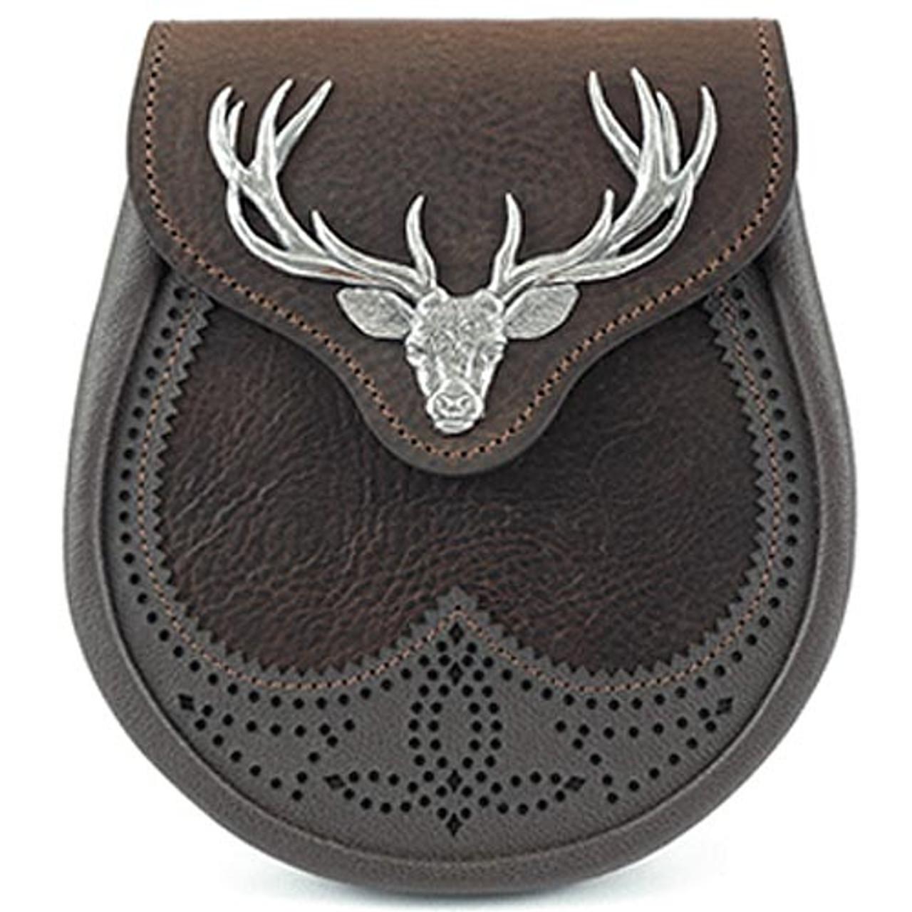 Half Dress Kilt Sporran Black Leather with Stag Head Badge//Leather Sporran Black
