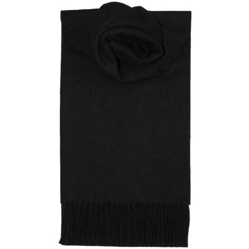 Black Plain Colored Lambswool Scarf