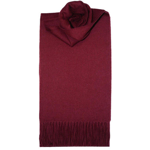 Wine Plain Coloured Lambswool Scarf