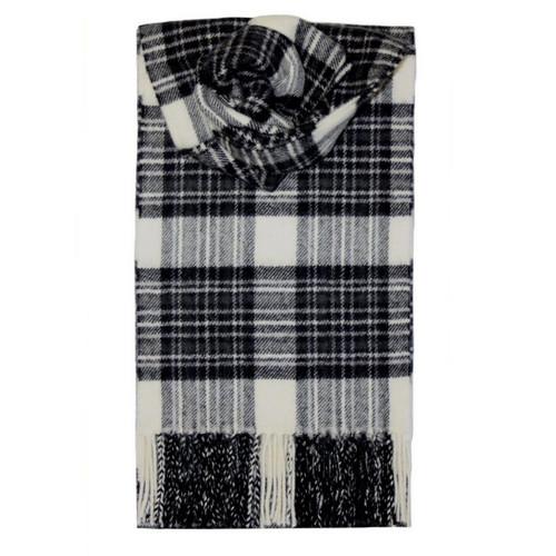 Stewart Dress Grey Tartan Lambswool Scarf