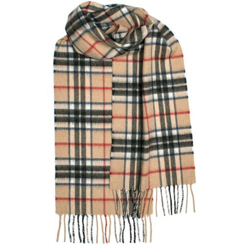 Thompson, camel, modern, tartan, luxury, cashmere, scarf