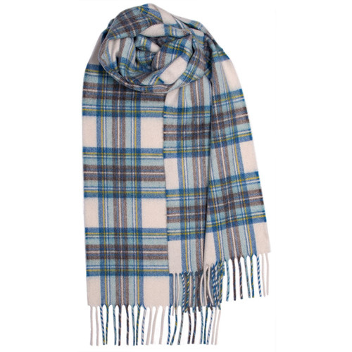 Stewart Blue Dress Tartan Luxury Cashmere Scarf