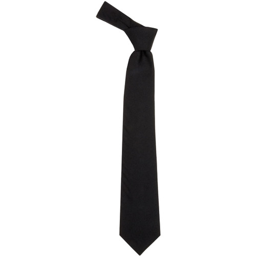 Black Plain Coloured Wool Tie