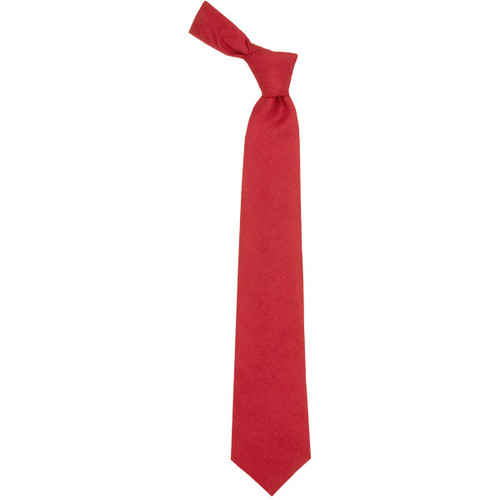 Red Weathered Plain Coloured Wool Tie