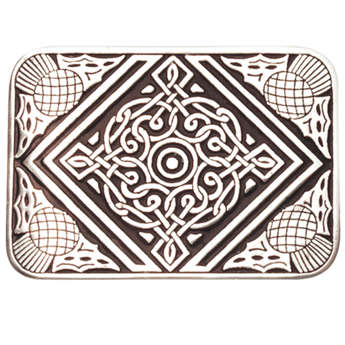 Celtic Belt Buckle with Thistle Border