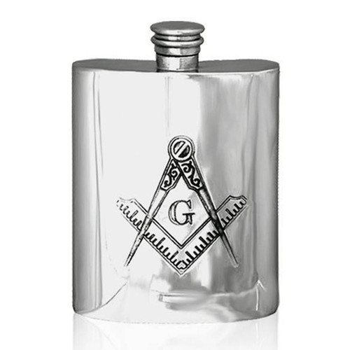 Masonic 6oz Pewter Hip Flask