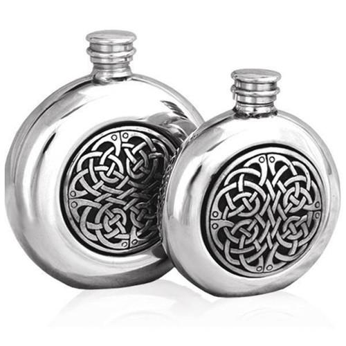 Round Celtic 6oz Pewter Hip Flask