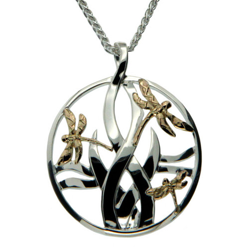 Keith Jack Dragonfly in Reeds Silver & Gold Pendant