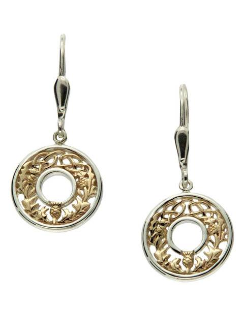 Keith Jack Silver and gold thistle earrings