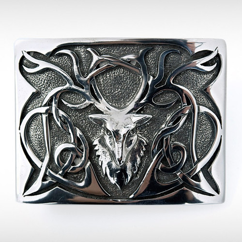 BELT BUCKLE - PEWTER STAG (POLISHED)