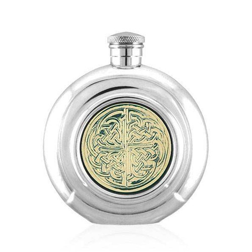 6 ounce Pewter Hip Flask Celtic Knot