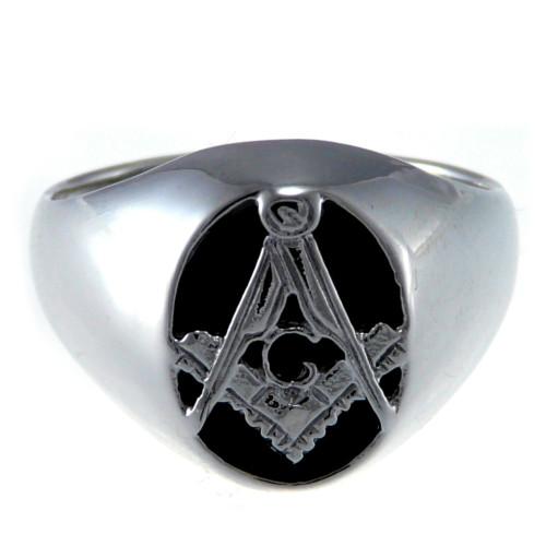 Masonic Black Enamel & Silver Ring