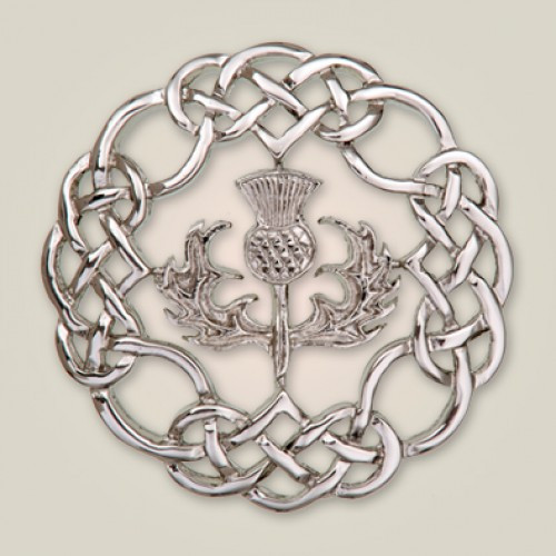 Celtic Knot Brooch with Thistle center