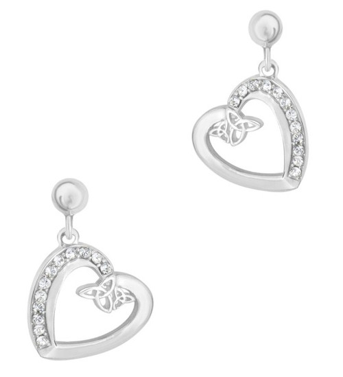 CELTIC HEART SILVER DROP EARRINGS