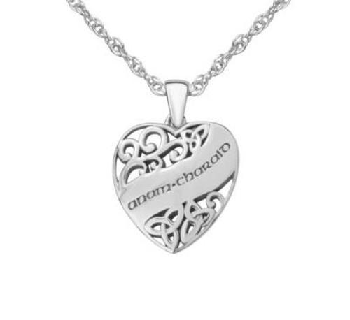 CELTIC LOVE SILVER HEART PENDANT