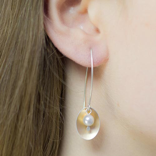 Copper Rose Oval & Pearl Earrings