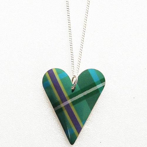 Tartan Medium Slim Heart Necklace Tartan Green