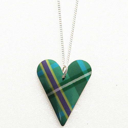 Tartan Medium Slim Heart Necklace Tartan Green