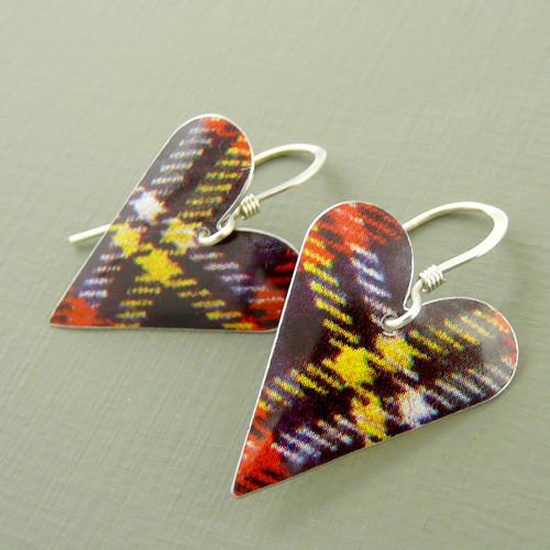 Tartan Medium Heart Earrings