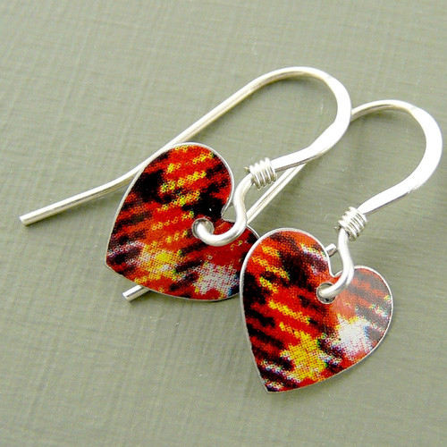 Tartan Round Heart Earrings