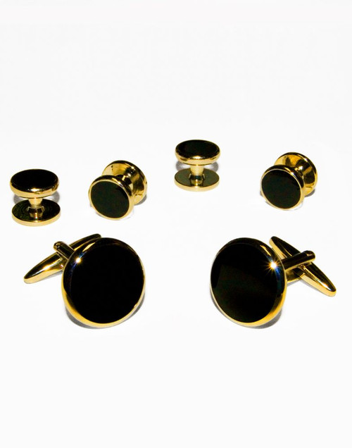 Deluxe Black with Gold Trim Studs and Cufflinks Set