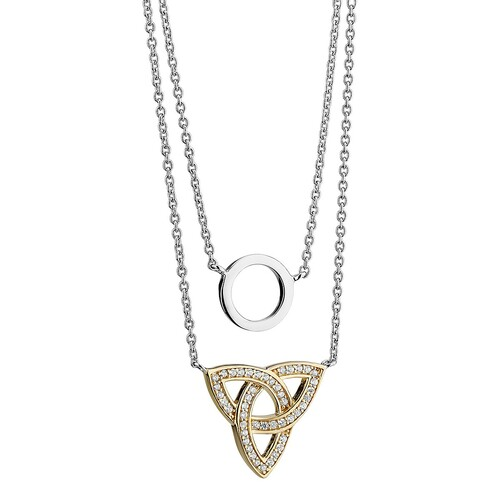 Solvar Gold-plated & silver Trinity Knot & circle necklace