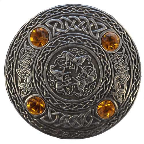 4 Stone Celtic Horse Brooch