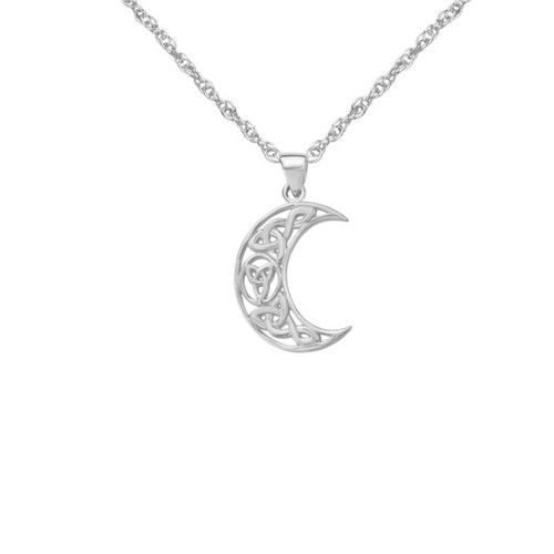 Celtic Crescent Moon Silver Pendant