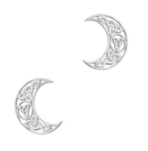 Celtic Crescent Moon Silver Stud Earrings