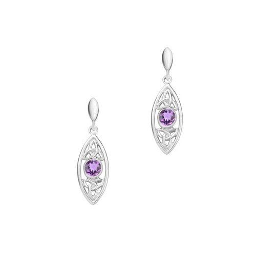 Celtic Trinity Knots Silver Oval Earrings with Amethyst