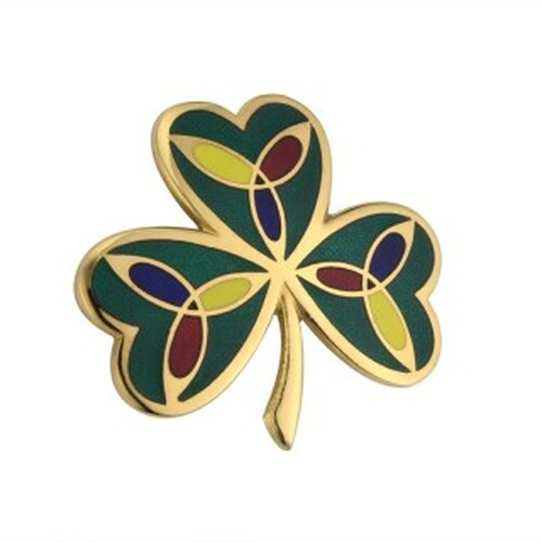 GOLD PLATED SHAMROCK BROOCH