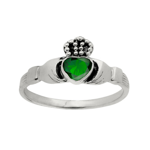 Celtic Claddagh Silver Ring with Emerald colour stone