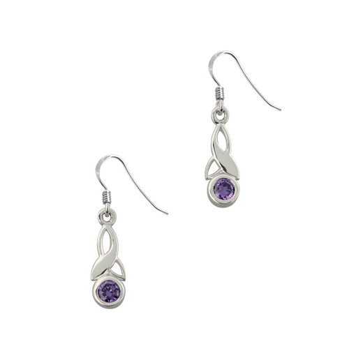 Celtic Trinity Knot Silver Drop Earrings with Amethyst stone